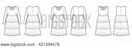 Set Of Dresses Babydoll Technical Fashion Illustration With Long Short Sleeves, Oversized Body, Knee
