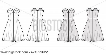 Zip-up Dress Bustier Denim Technical Fashion Illustration With Sleeveless, Strapless, Fitted Body, K