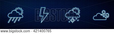 Set Line Cloud With Snow And Sun, Rain, Lightning Bolt And Windy Weather. Glowing Neon Icon On Brick