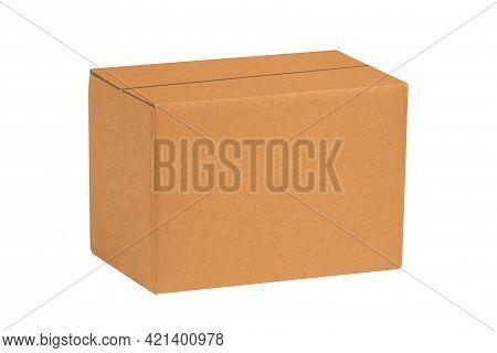 Kraft Cardboard Box Isolated On White Background. Box Mockup Design.