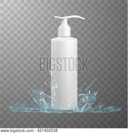 White Plastic Hdpe Cosmetics Bottle With Press Pump Dispenser On Checkered Background