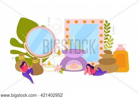 Spa Treatment Flat Concept With Ingredients For Stone And Aroma Therapy Herbal And Healing Oils Deco