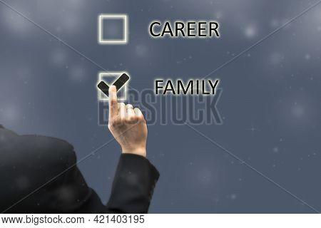 Balance Between Family And Career Concept. Businessman Chooses Personal Life Sacrificing Professiona