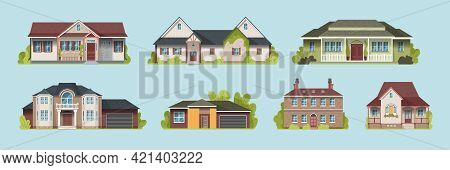 Set Of Suburban Country Houses Models On A Blue Background Flat Vector Illustration
