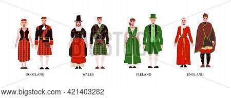 People From Scotland Wales Ireland And England In Their National Costume Flat Set Isolated Vector Il