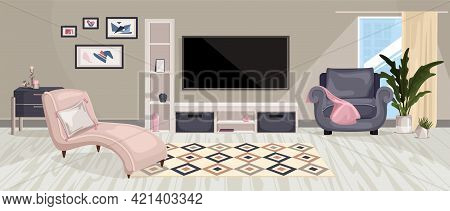 Furniture Interior Composition With Horizontal View Of Living Room With Designer Furniture Paintings