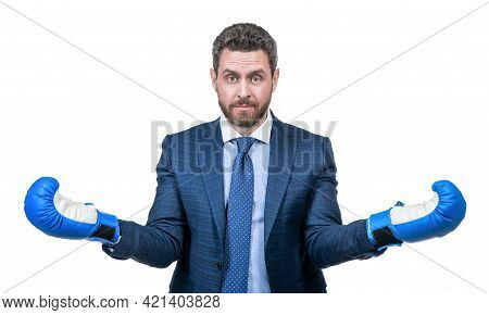 Amazement. Amazed Businessman In Boxing Gloves. Successful Ceo Boxer.