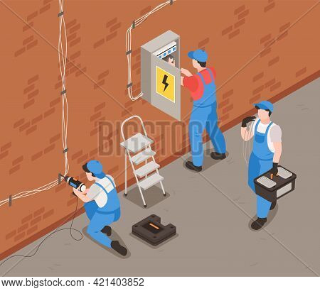 Electrician Isometric Background With Equipment Uniform And Job Symbols Vector Illustration
