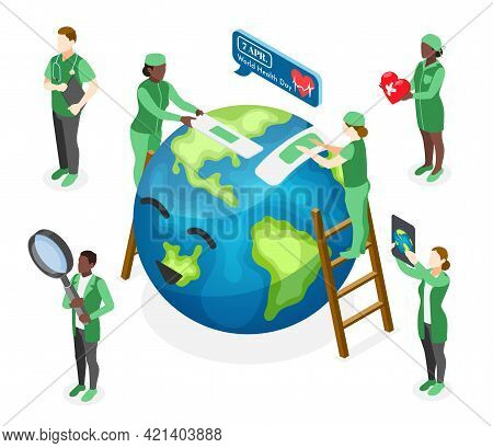 Isometric World Health Day Composition With Doctors Curing Happy Earth Planet 3d Vector Illustration