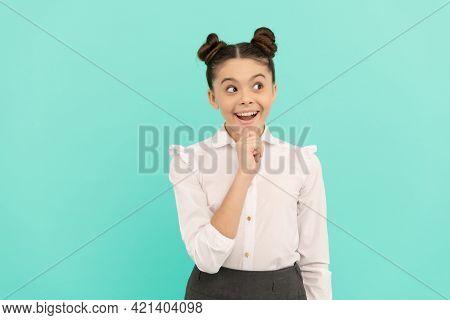 She Is Very Imaginative. Imaginative Child Blue Background. Active Imagination. Basic Education