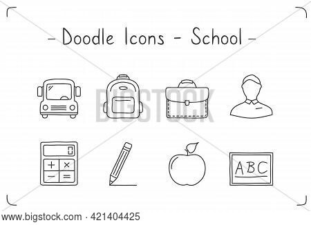 Handdrawn Doodle Icons Set - Education And School, Vector Eps10 Illustration