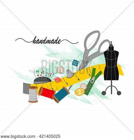 Mannequin With Tools For A Tailor. Card Template For Use In The Garment Industry And Clothing Boutiq