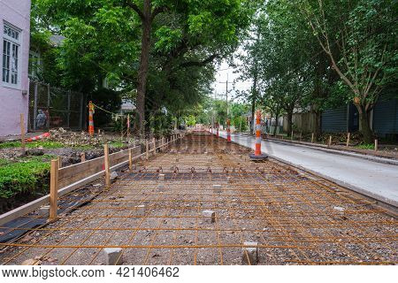 New Orleans, La - May 18: Rebar And Supports For Concrete Street Repair On Uptown Neighborhood Stree
