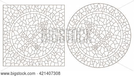 Set Of Contour Illustrations In The Style Of Stained Glass With The Signs Of The Zodiac Sagittarius,