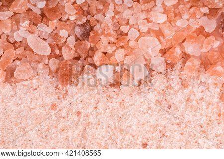 Himalayan Pink Salt, Coarse Salt And Fine Salt, Top View, Close Up