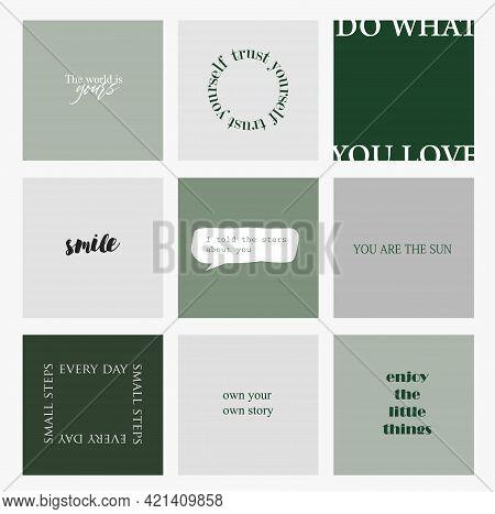 Design backgrounds for social media banner.Set of instagram post frame templates.Vector cover. Mockup for personal blog or shop.Layout for promotion.Endless square puzzle.