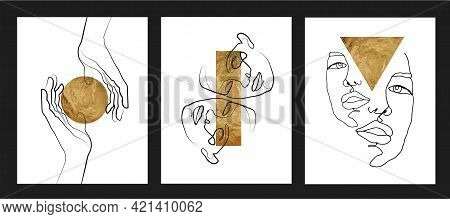 Gold One Line Wall Art Vector Set.  Boho Line Art Drawing With Abstract Shape. Abstract Face And Han