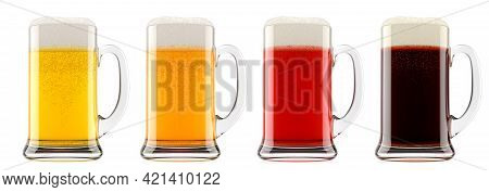 Set Of Glasses Of Fresh Beer With Bubble Froth Isolated On A White Background. 3d Rendering Concept