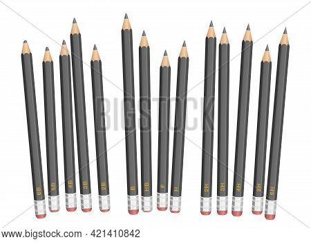 Pencils, Degrees Of Hardness, Different Tone And Grade Designations, Soft, Medium And Hard, From 6b