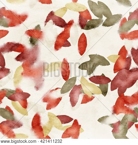 Seamless Watercolor Leaves Trendy Chic Pattern For Surface Print.