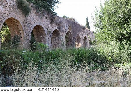 An Ancient Aqueduct That Is 200 Years Old Supplied Water From The Qabri Springs In Akko, Western Gal