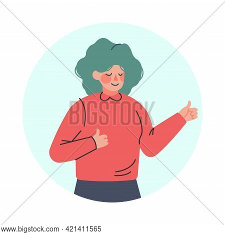 Happy Female Showing Thumb Up Making Positive Hand Gesture In Circular Frame Vector Illustration