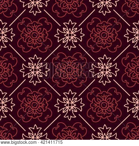 Abstract Floral Seamless Pattern. An Ornament For Decorating Interior, Textile, Fabric, Covers. Forg