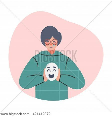 Depressed Boy Holding Smile Face Mask, Male Person Changing His Personality To Conform To Social Req