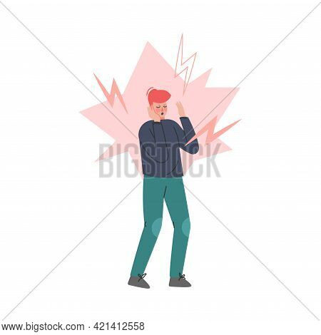 Stressed Boy With Lightnings Around Him, Anger, Loneliness, Depression Concept Cartoon Vector Illust