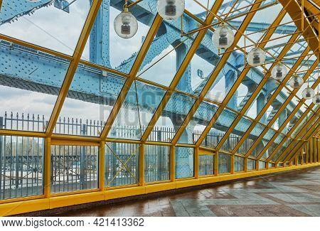 Pushkinskiy Or Andreyevsky Pedestrian Bridge, Steel Elements Of The Glass Gallery Above The Pedestri