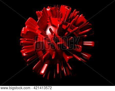 Abstraction Of A Corona Virus On Black Background - 3d Rendering Illustration