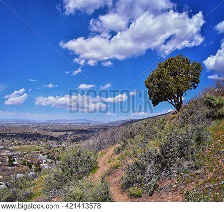 Rocky Mountains Landscape Views From Grandeur Peak Hiking Trail, Bonneville Shoreline Pipe Line Over