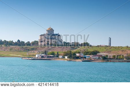 Sevastopol Landscape With The Saint Vladimir Cathedral, A Neo-byzantine Russian Orthodox Cathedral O