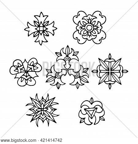Abstract Floral Patterns. An Ornament For Decorating Household Accessories, Tableware, Textiles, Arc