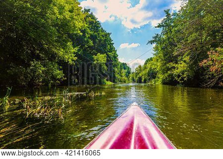 Kayaking Down The Sunny River Surface With Banks Of Densely Overgrown Green Trees. Calm River Landsc