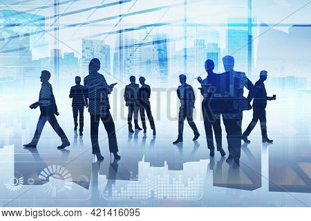 Group Of Business People Working Together Over Digital Interface. Concept Of Teamwork, Cooperation A