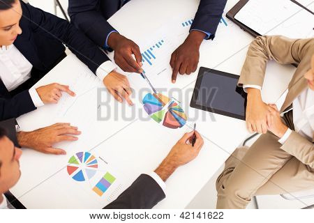 overhead view of group business people having meeting together