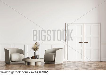 Modern Stylish Living Room Design Interior. Oak Parquet Floor With Two Armchairs. White Wooden Door.