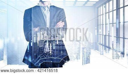 Businessman Trader In Crossed Hands Pose Standing In Modern Panoramic International Office. Ponderin