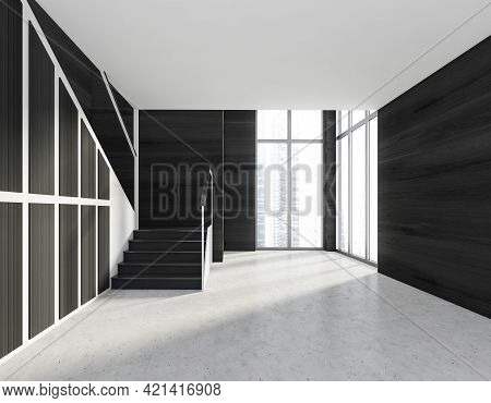 Minimalistic Modern Hall Interior With Stairs. Stone Floor. Concrete Stairs. Panoramic Window With C