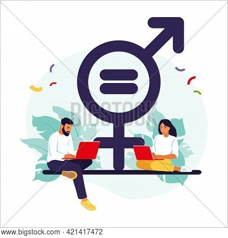 Gender Equality Concept. Men And Women Character On The Scales For Gender Equality. Vector Illustrat