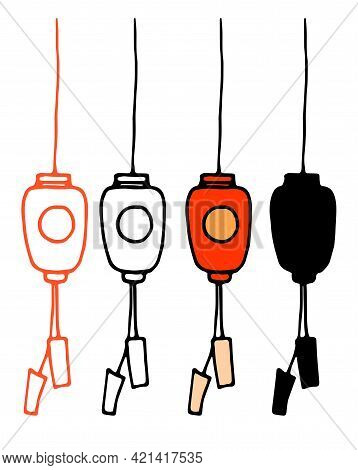 Vector Set Of Chinese Flashlight. A Set Of Isolated Elements Of A Japanese Street Lamp In Red With A