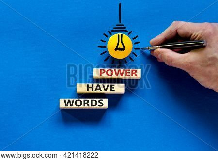 Words Have Power Symbol. Wooden Blocks With Word 'words Have Power'. Beautiful Blue Background. Busi
