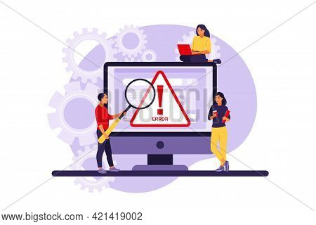 System Error Concept. Programmers Working With System Error. Vector Illustration. Flat.