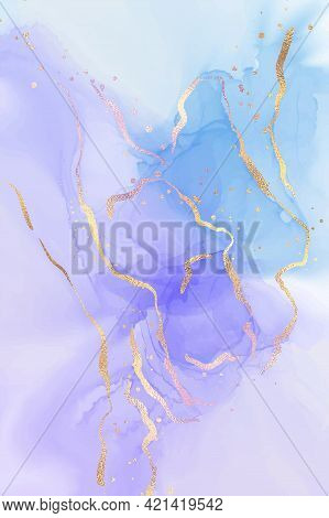 Mauve And Teal Blue Liquid Watercolor Background With Golden Glitter Splash. Pastel Violet And Cyan
