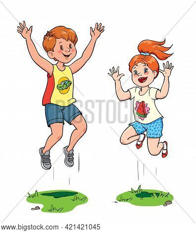 Joyful Girl And Boy Are Jumping. Cut Out Illustration On White Background