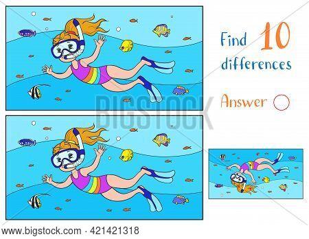 Find 10 Differences. Educational Game For Children. A Girl In A Mask And Fins Swims With Fish In Blu