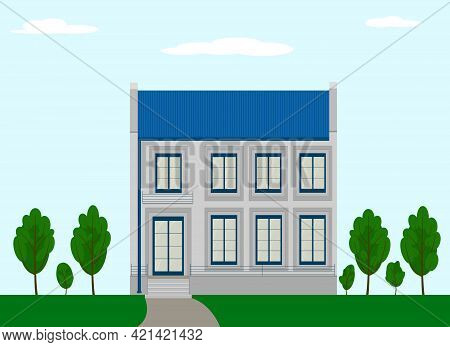 Large Modern Two-storey Beautiful House House, With Large Windows To The Floor And A Glass Door. Vec