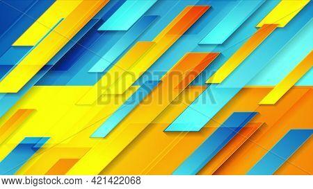 Contrast blue orange glossy tech geometric background