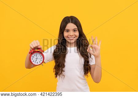 Punctuality. Happy Kid Hold Alarm Clock. Last Chance. Time For Shopping Sales. Good Morning.